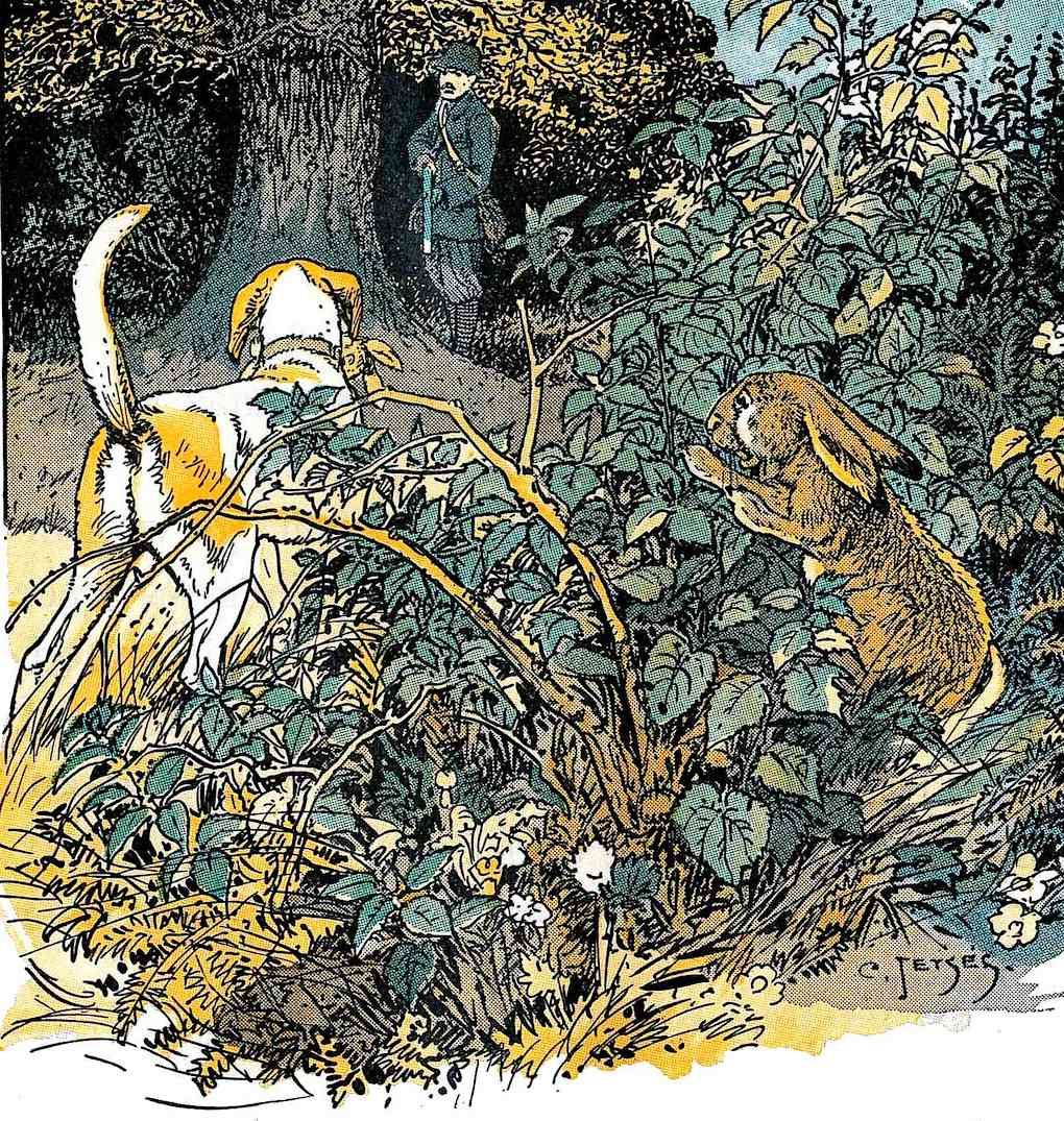 an illustration from an old Dutch children's book, a rabbit hides from a hunter and dog