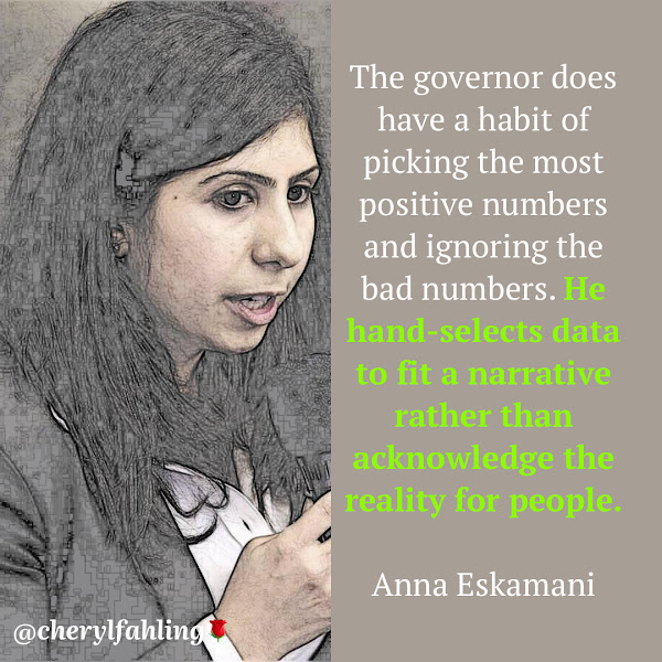 The governor does have a habit of picking the most positive numbers and ignoring the bad numbers. He hand-selects data to fit a narrative rather than acknowledge the reality for people. — Florida state Rep. Anna Eskamani