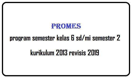 Program Semester Kelas 6 Semester 2 SD/MI K13 Revisi 2019