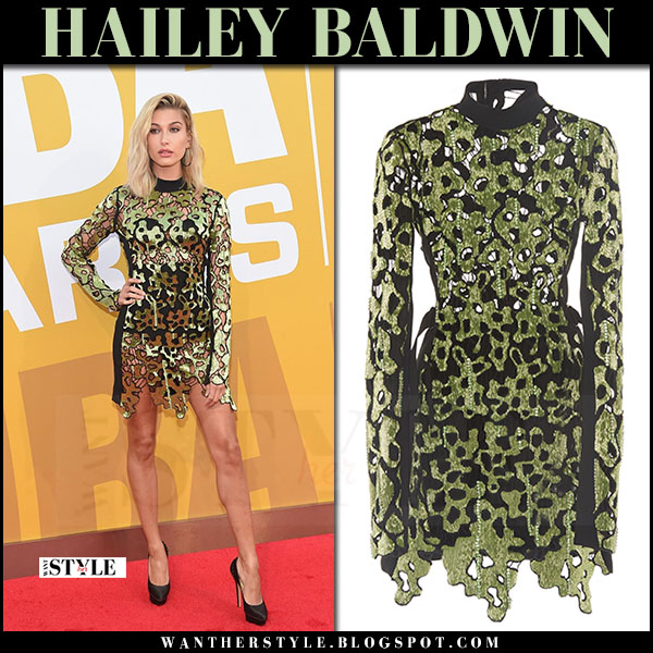 Hailey Baldwin in green embroidered mini dress david koma what she wore june 26 2017 red carpet
