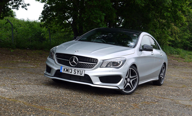 Mercedes CLA on the old Brooklands circuit