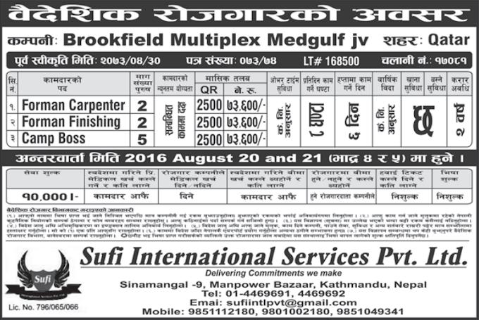 Free Visa, Free Ticket Jobs For Nepali In Qatar Salary- Rs.73,600/