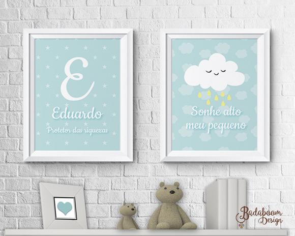 poster, pôster, postere, poters, nuvem, cloud, quadro, quadrinho, sonhe alto, nome, quadro nome, arte, digital personalizada