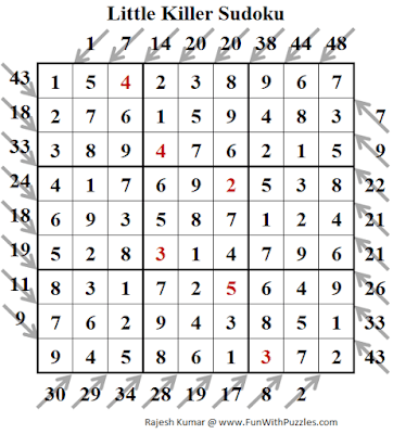 Answer of Little Killer Sudoku Puzzles (Fun With Sudoku #317)