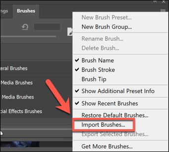 اضغط على زر خيار قائمة الإعدادات في لوحة Brushes ، ثم اضغط على Import Brushes لبدء استيراد فرش جديدة