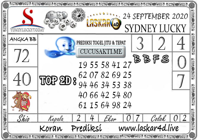 Prediksi Sydney Lucky Today LASKAR4D 24 SEPTEMBER 2020