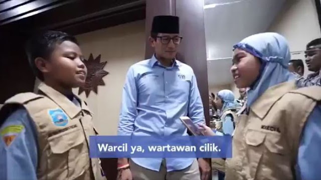 Kunjungi Surabaya, Sandiaga Uno Diwawancarai Wartawan Cilik