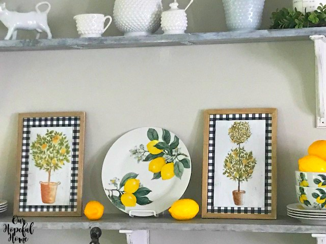 lemon dinnerware plate bowl topiary buffalo check