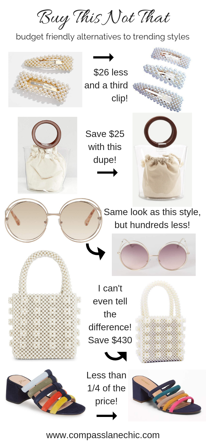 ss19 trend dupes for less, pearl barrettes, transparent bag, pearl bag,