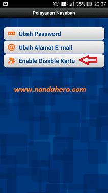 cara disable kartu atm bri lewat internet banking