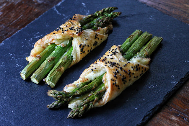 Asparagus in Puff Pastry with Brie and Honey