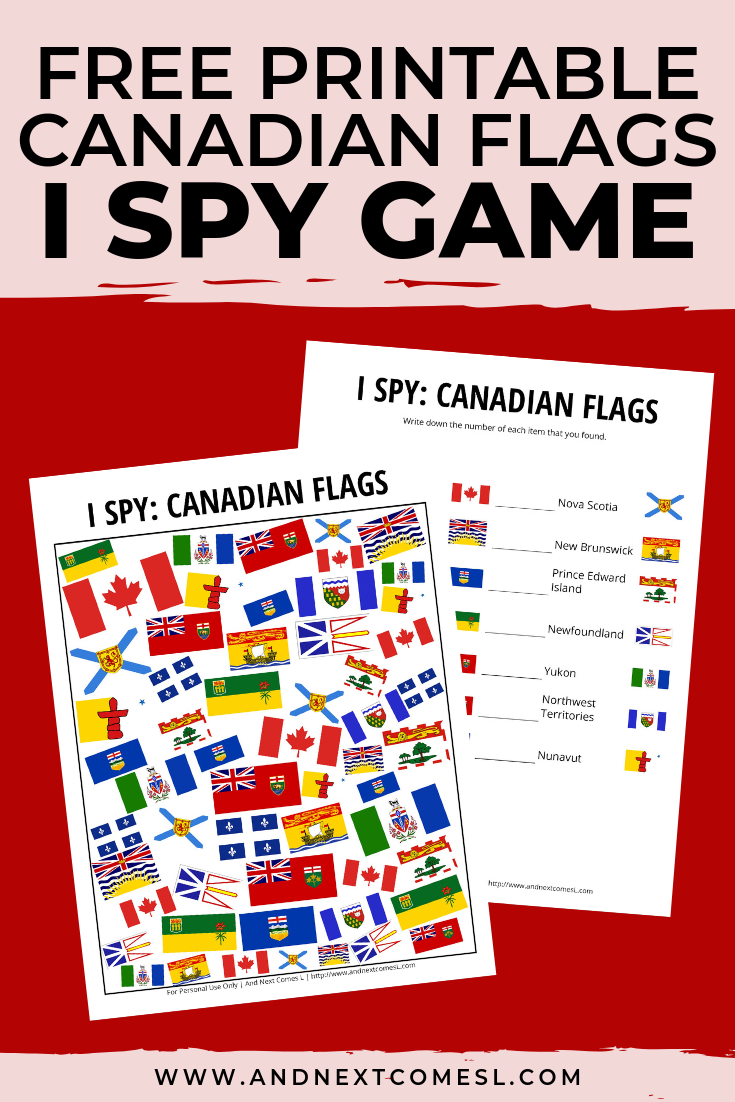 Free I spy game printable for kids: Canada Day themed