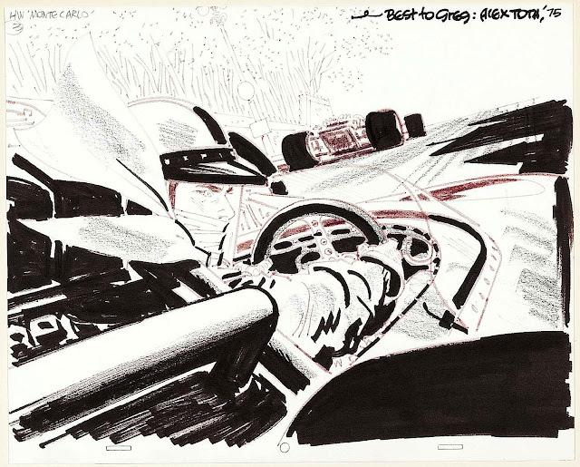 a 1975 Alex Toth sketch of formula one racing at Monte Carlo