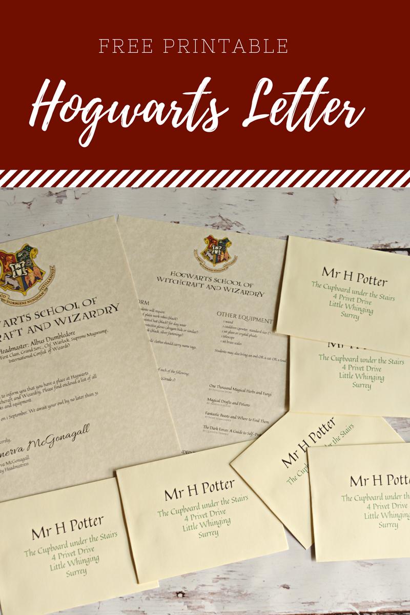 free printable hogwarts letter