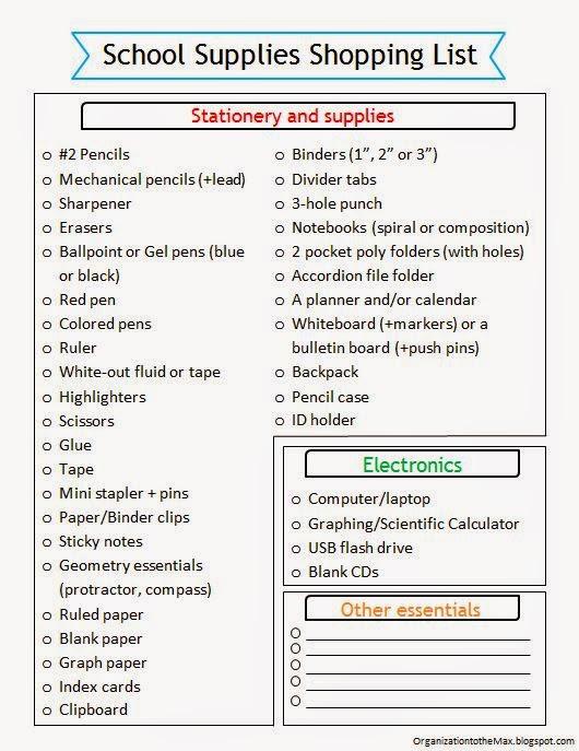 school supply template - Idealvistalist - printable office supply list