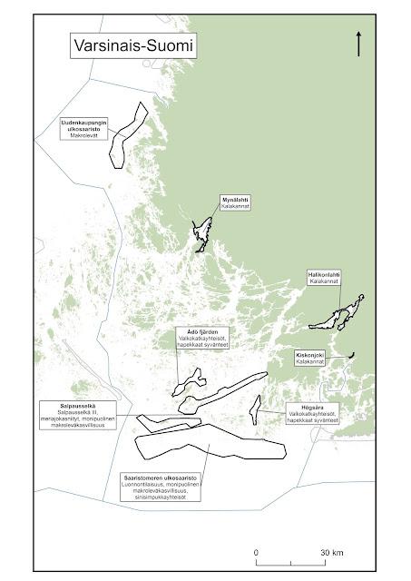 Kartta, johon on piirretty Saaristomeren EMMA-alueet
