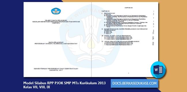 Model Silabus RPP PJOK SMP MTs Kurikulum 2013 Kelas VII, VIII, IX