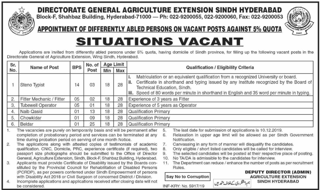 Agriculture Extension Sindh Management Posts Hyderabad 2019