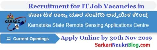 Government IT Jobs KSRSAC 2019