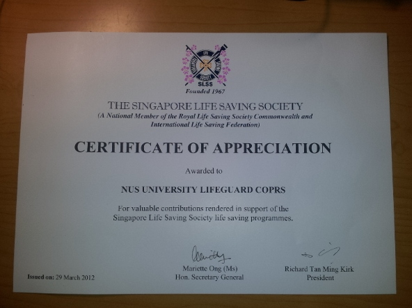life saving award certificate template nus lifesaving slss certificate of appreciation