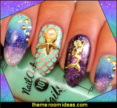 nail art designs 3d  ocean  mermaid starfish shell nail art decoration - metal nail art studs