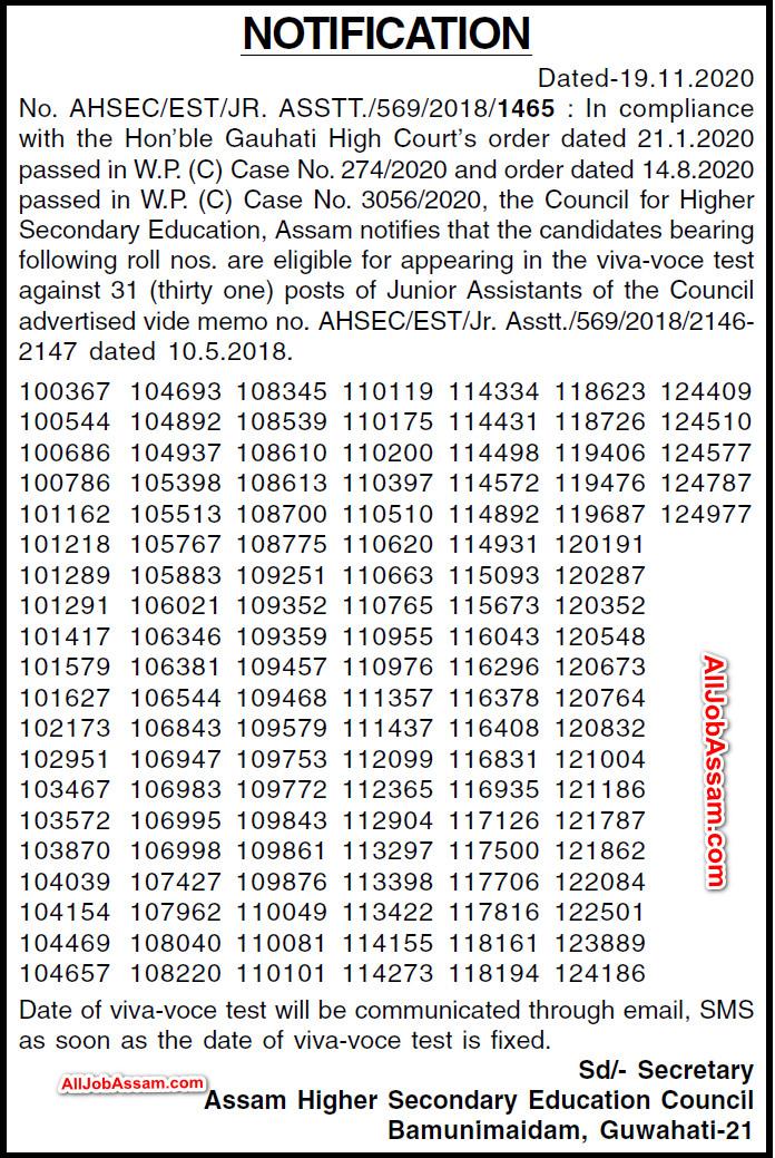 AHSEC Junior Assistant Result 2020