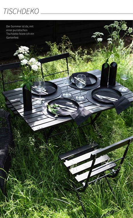 Sommerliche Tischdeko für den Garten mit Tischuntersetzern aus Wollfilz.