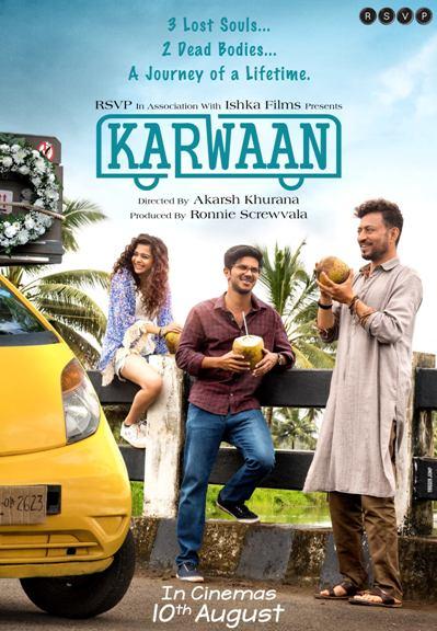 Karwaan new upcoming movie first look, Poster of Dulquer Salmaan, Irrfan Khan, Kriti Kharbanda next movie download first look Poster, release date