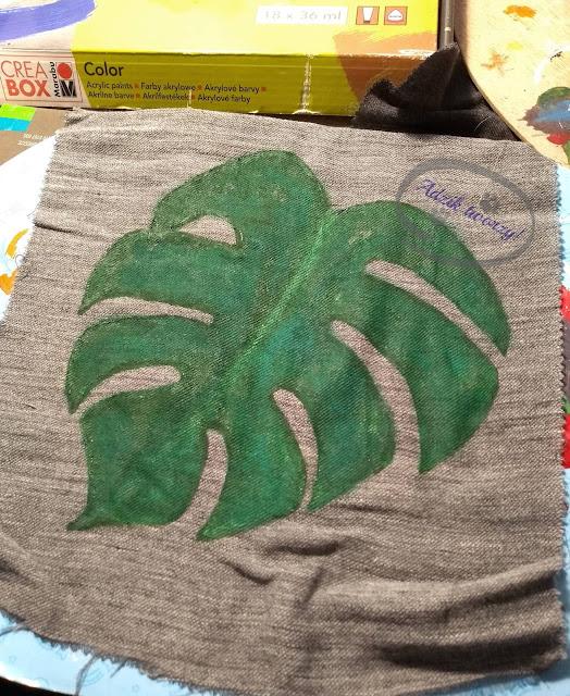 Adzik tworzy - ręcznie malowana ekotorba z liściem monstery