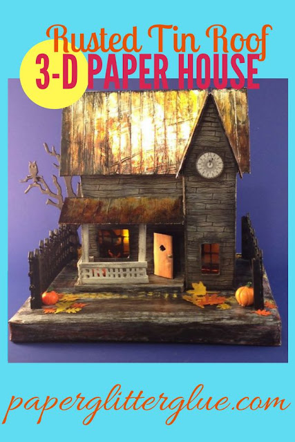 Rusted Roof Halloween House made of cardboard and paper for your Halloween decor #putzhouse #halloweenhouse #howtomakehalloweenhouse