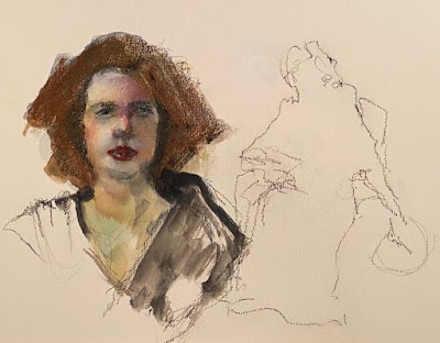 Loose portrait of woman and contour drawing of woman with fan