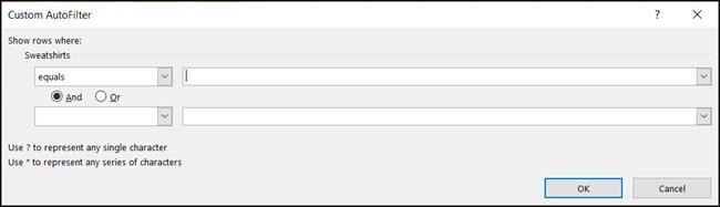 إضافة البيانات إلى عامل التصفية
