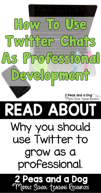 Use technology to connect with other teachers. Twitter is a great social media to keep up to date on current trends in education. An informative blog post about how to use a Twitter chat for professional growth and development from the 2 Peas and a Dog blog.