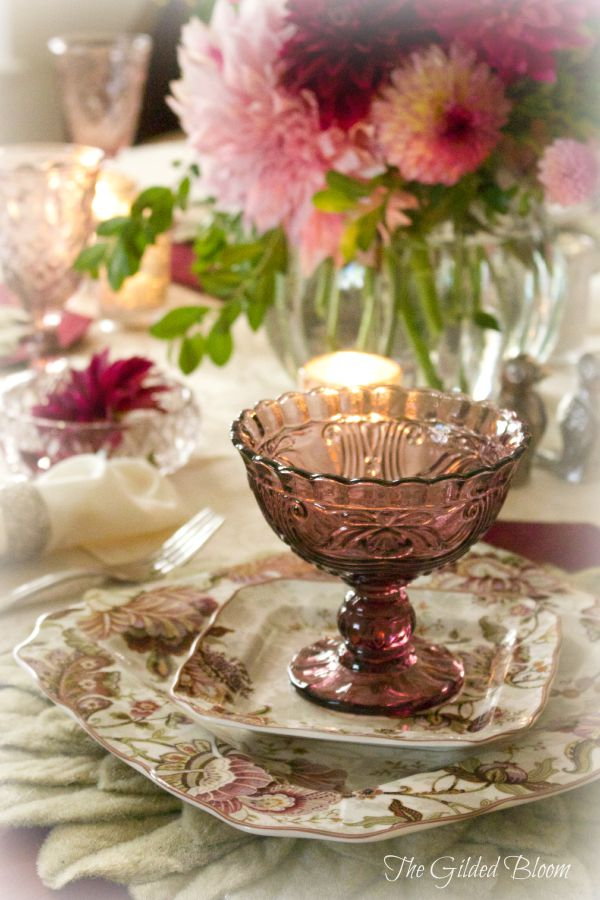 Vintage Wine and Mulberry Table- Create a layered early fall table with candlelight and dahlias.  www.gildedbloom.com #tablesttings