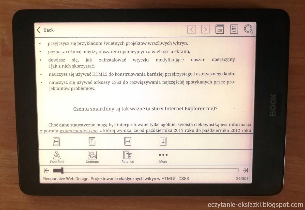 Ustawienia obracania tekstu w aplikacji Neo Reader na czytniku Onyx Boox Nova
