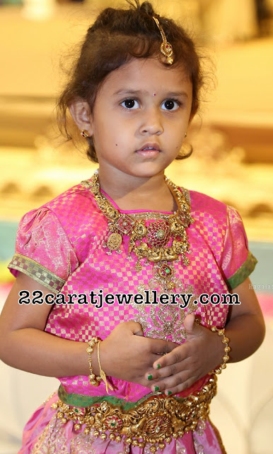 Pretty Kid in Heavy Nakshi Necklace