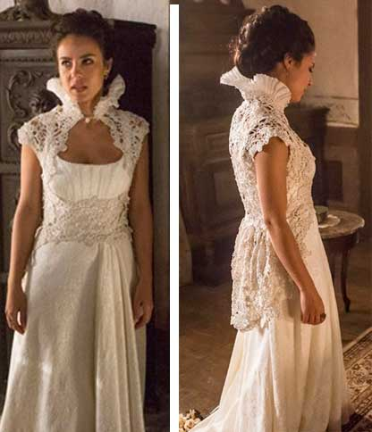 Joaquina/ Rosa (Andrea Horta) Liberdade Liberdade, figurino, vestido branco