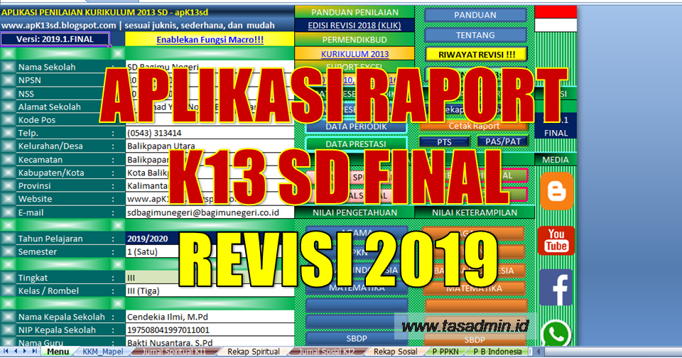 Aplikasi Raport K13 Sd Tahun 2019 Revisi Final Tasadmin
