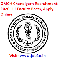 GMCH Chandigarh Recruitment 2020, Faculty Posts
