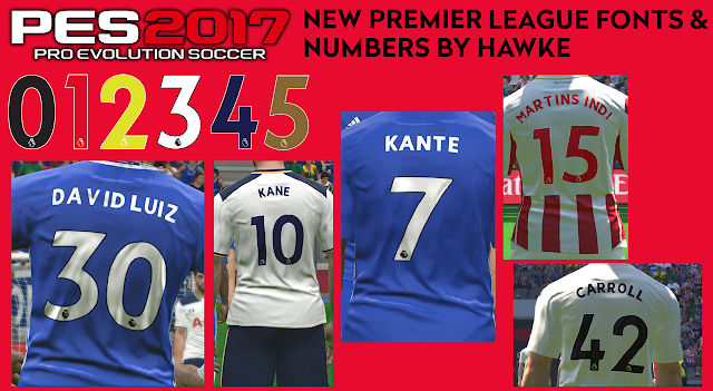 PES 2017 New Premier League Fonts and Numbers by Hawke