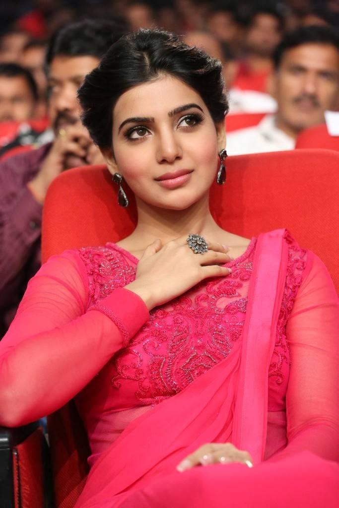 Samantha Spicy Hip Navel Photos In Pink Saree
