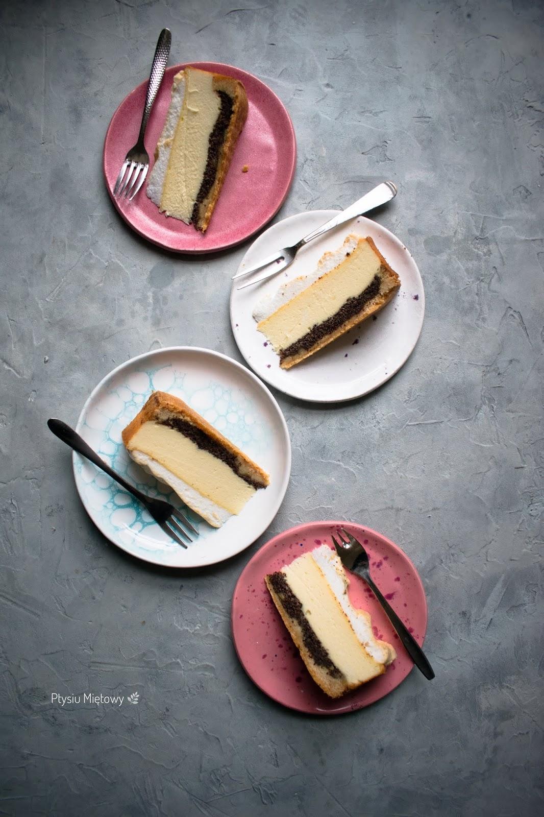 sernik, deser, ciasto, ptysiu mietowy