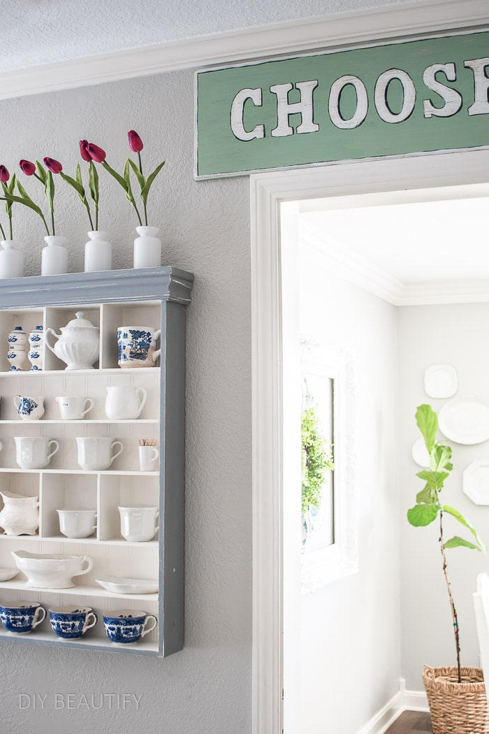 painted wall cabinet for mugs