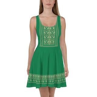 Green Christmas Dress Inspired by Noelle Disney Movie.
