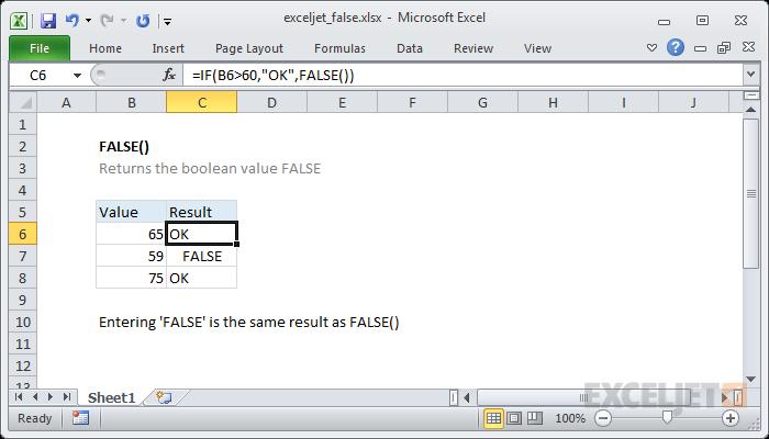 صيغ الدالة FALSE واستخدامها في برنامج Microsoft Excel
