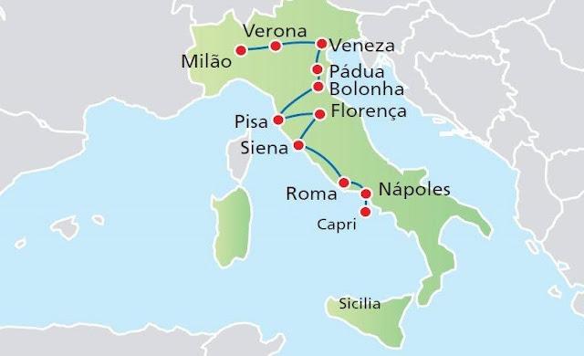 Roteiros de carro na Itália