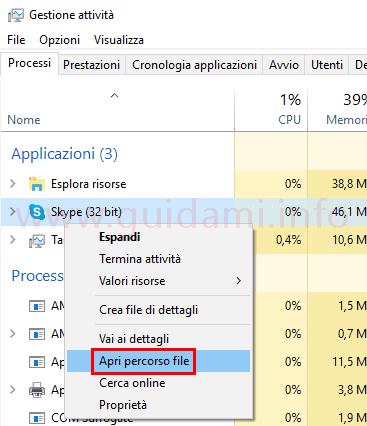 Task Manager Windows Apri percorso file selezionato in Processi