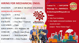 ITI / Diploma / BE Hiring For On Role Mechanical Trainee Engineer in Pune
