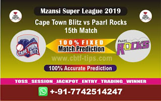 Who will win Today MSL T20 2019, 15th Match Paarl vs Cape Town, Mzansi T20 2019
