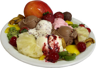 Ice cream and fruit